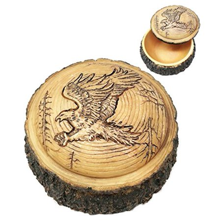 Wood Traditional Gift Box (Ebros Gift Beautiful Rustic Faux Wood Bald Eagle Swooping With Spread Out Talons For Prey Rounded Jewelry Box Figurine)