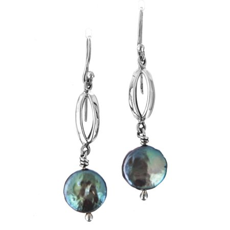 Blue Gray Freshwater Coin Cultured Pearl 925 Sterling Silver Earrings, 1 1/4