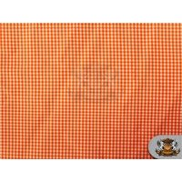 "Poly Poplin Gingham Fabric Mini Checkers 02 ORANGE / 58"" Wide / Sold by the yard"