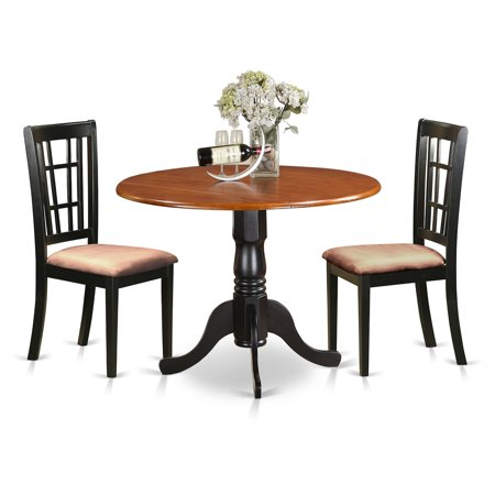 East West Furniture Dublin 3 Piece Drop Leaf Dining Table Set With Nicoli Microfiber Seats Chairs