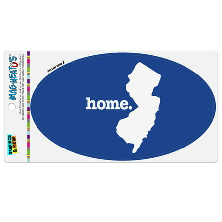 New Jersey NJ Home State Solid Navy Blue Officially Licensed Automotive Car Refrigerator Locker Vinyl Euro Oval Magnet ()