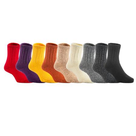 Baby Wool Socks - Lovely Annie Baby Toddler Children 6 Pairs Wool Tube Socks Solid 4Y-6Y(Random Girl Color)