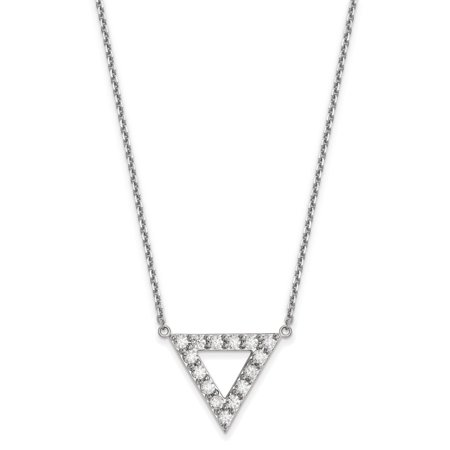 Diamond Triangle Necklace - 14kw AA Quality Diamond 20mm Triangle Necklace
