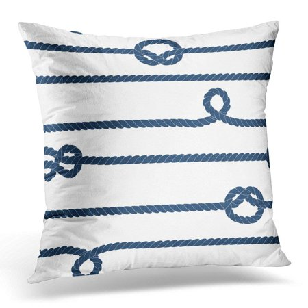 Navy Block - USART Black Sail Navy Rope and Marine Knots Striped in Blue and White Boat Pillows case 18x18 Inches Home Decor Sofa Cushion Cover