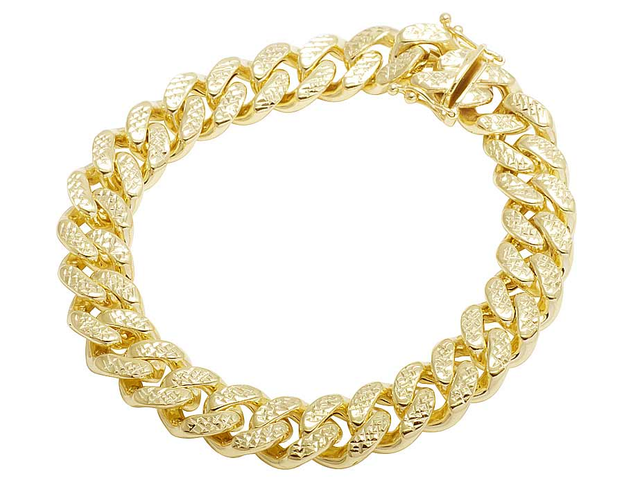 10K Yellow Gold Hollow Diamond Cut Miami Cuban Bracelet 11MM 8-9 Inches-9 in. by Jewelry Unlimited