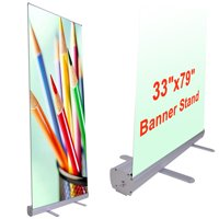 "Instahibit 2pcs Economy 33""x79"" Retractable Roll Up Banner Stand Trade Show Signage Display"