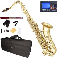 Mendini by Cecilio Bb Tenor Saxophone with Tuner, 10 Reeds, Mouthpiece and Case, MTS-L Gold Lacquer