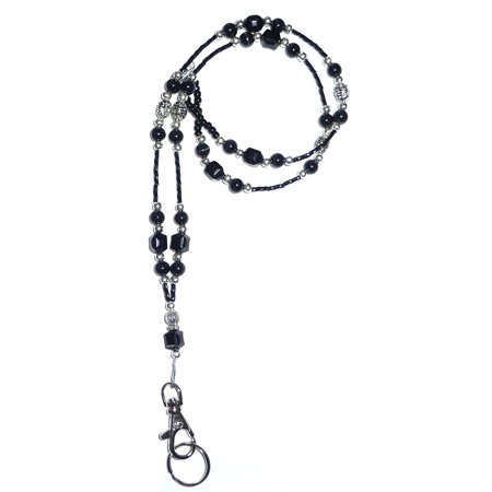Hidden Hollow Beads SUPER Slim Black Women's Beaded Fashion Lanyard Necklace, Jewelry ID Badge and Key Holder, 34 in.