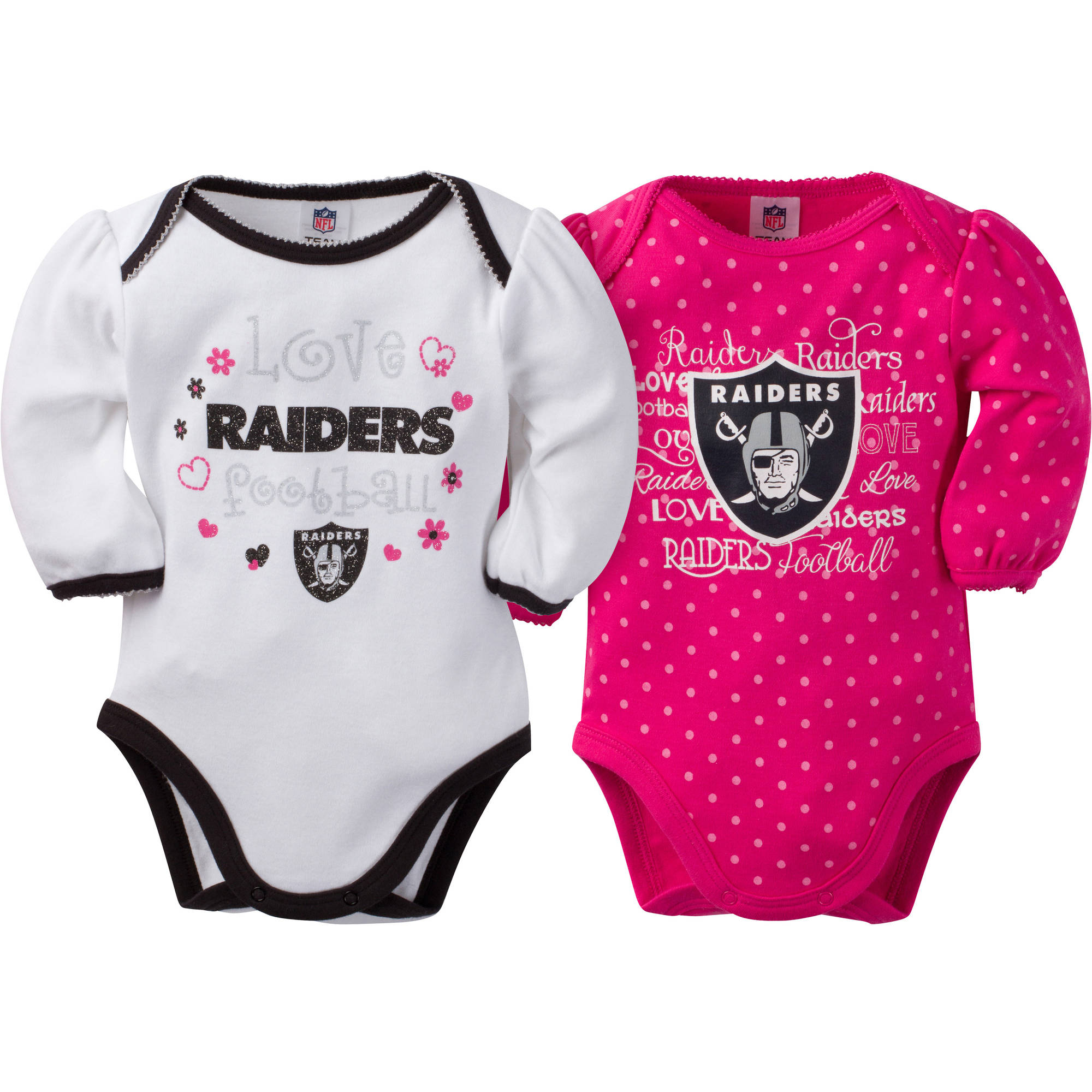 NFL Oakland Raiders Baby Girls Long Sleeve Bodysuit Set 2 Pack