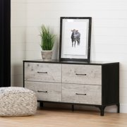 South Shore Valet 4-Drawer Double Dresser, Seaside Pine and Ebony