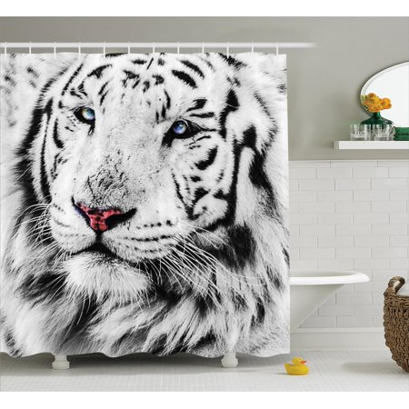 Safari Decor Shower Curtain Set White Tiger Wintertime Rare Animal Portrait Eyes National Geographic