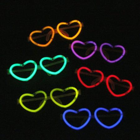 Heart Shape Luminous Glasses Colorful Glow Stick Glasses Frame Material:Plastic (Glow Stick Lollipops)