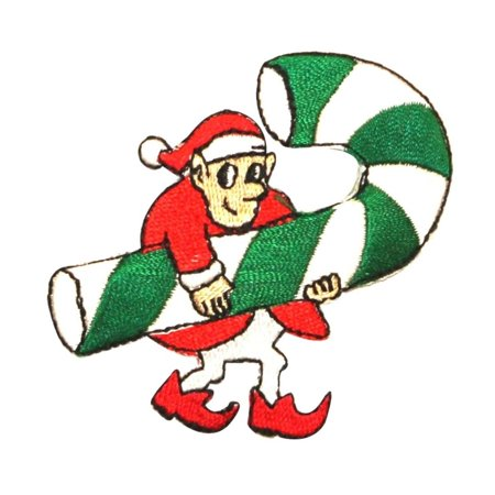 ID 8084 Santa's Elf With Candy Cane Patch Christmas Embroidered Iron On Applique](Candy Cane Elf)