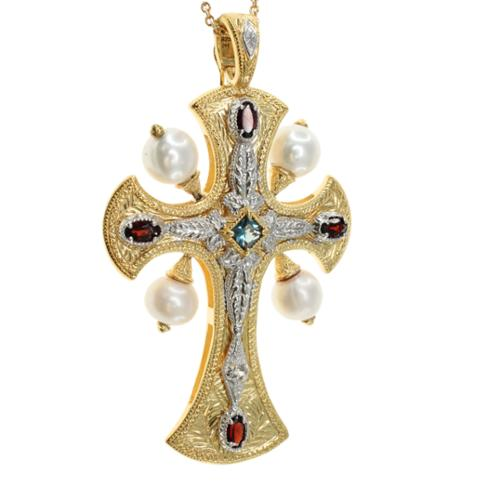 Dallas Prince  Sterling Silver White Pearl, London Blue Topaz and Garnet Cross Necklace (8 mm)