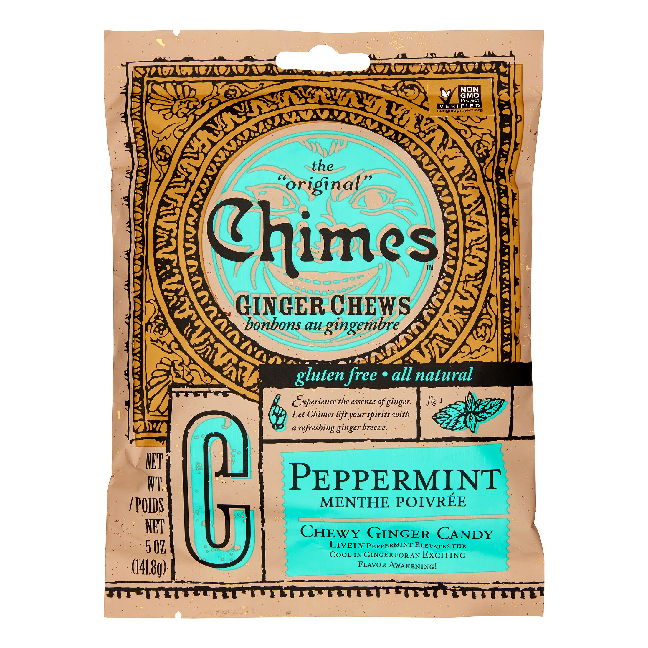 Chimes ginger chews, peppermint, 5 oz
