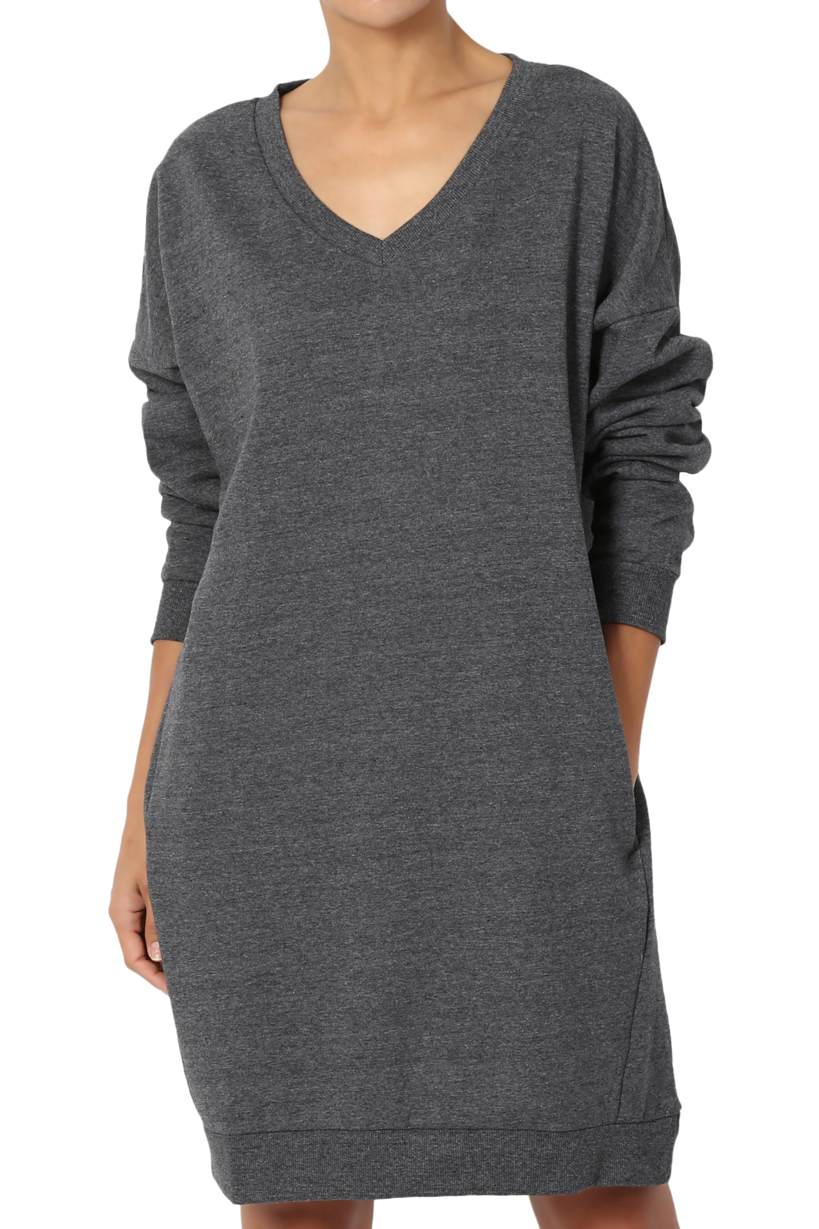 TheMogan Casual Oversized V-Neck Sweatshirts Loose Fit Pullover Tunic S~3XL