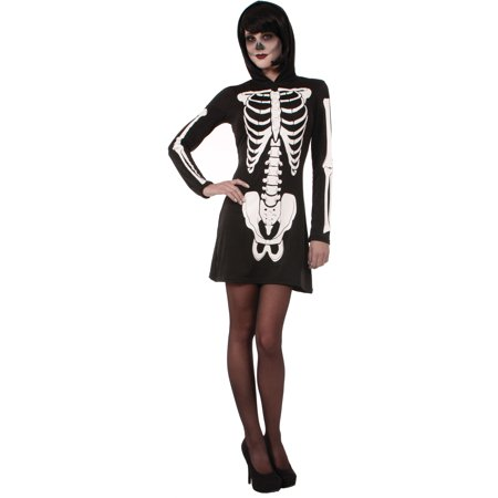 Adults Womens  Black White Skeleton Halloween Hooded Mini Dress Costume - Mini Pizzas Halloween