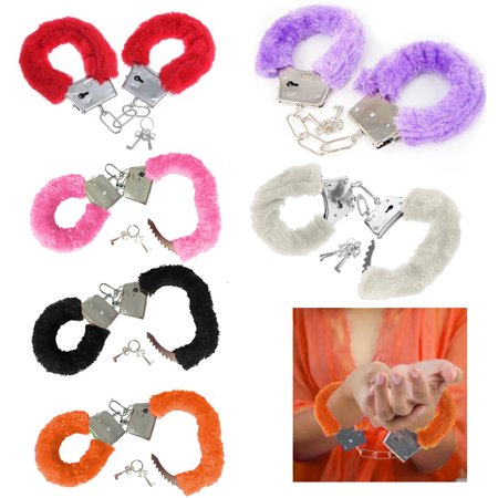 2 Pc Furry Handcuffs Adult Fun Naughty Gag Gift Novelty Fuzzy Toy Metal - Toy Handcuffs