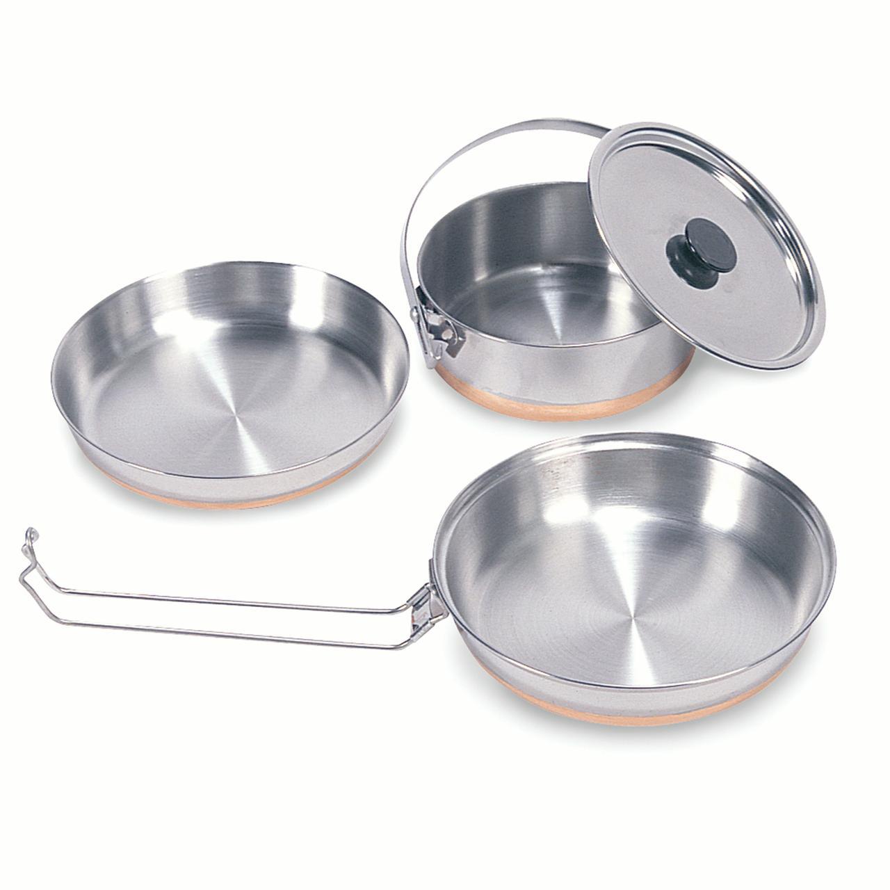 Stansport Stainless Steel Mess Kit - 1 Pan, 1 Saucepan, 1 Plate