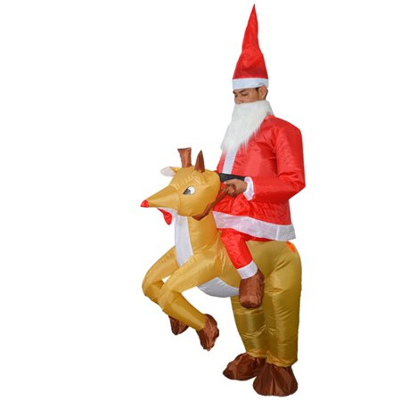 Adults Santa Riding Reindeer Inflatable Costume Suit Blow Up Inflatable Fancy Dress for Christmas Dress Up Party Stage Performance