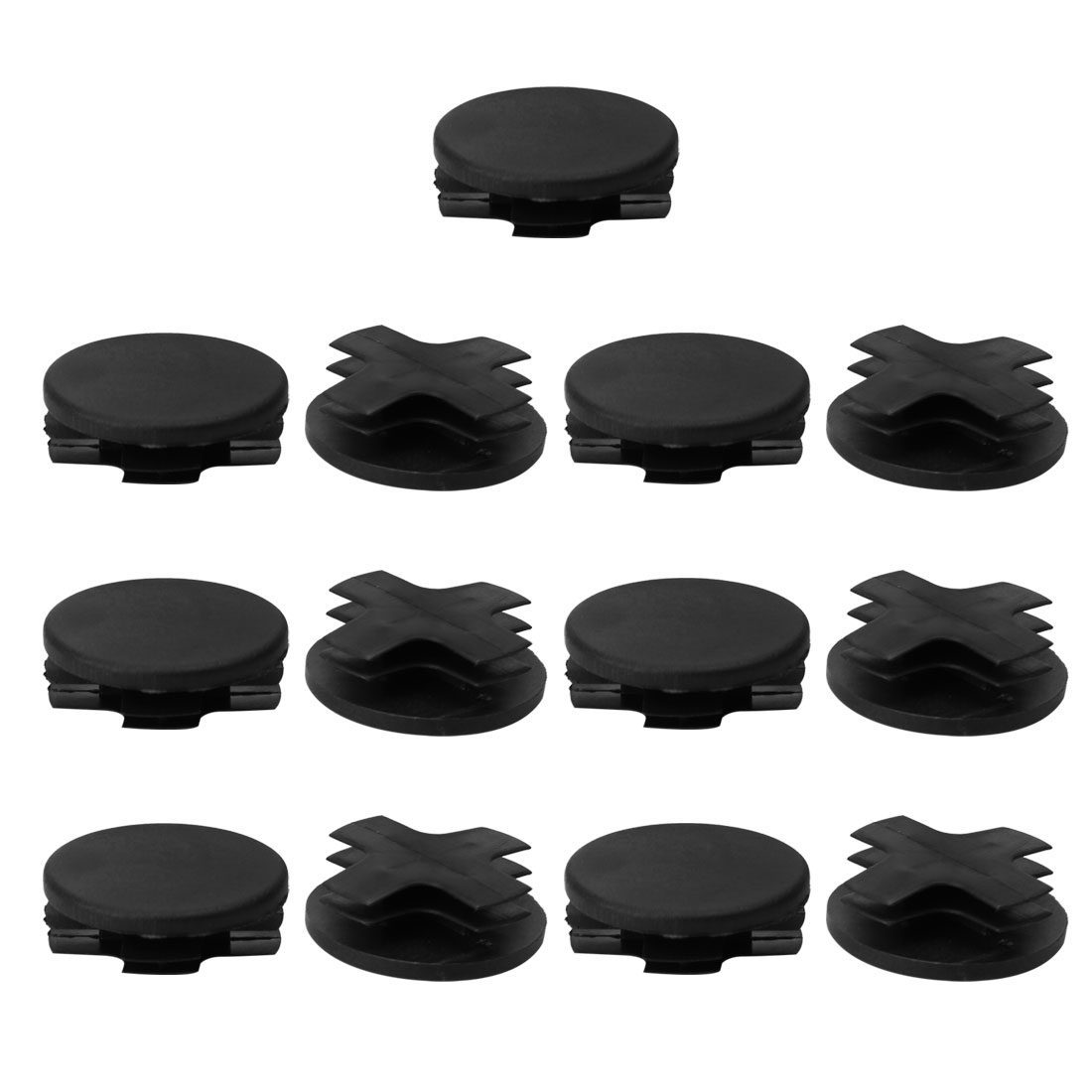"""13pcs 1 1/4"""" Dia 32mm OD Plastic Round Tube Insert Rib Pipe Cover Cap Black Floor Furniture Feet Protector, Fit for 1.14 - image 7 of 7"""