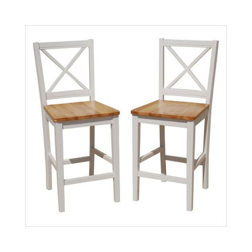 Virginia Cross Back 24 Quot Stool Set Of 2 White Natural
