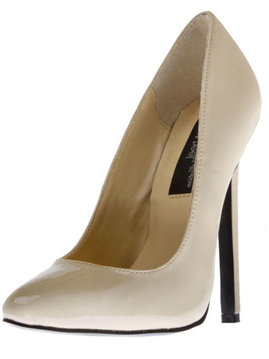 """Women's Highest Heel 5.25"""" Heel Pump Beige Patent Size 10 Shoes"""