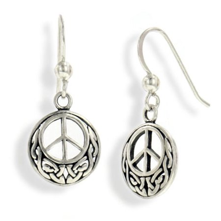 Celtic Knots And Symbols (Celtic Knot and Peace Sign Symbol Sterling Silver Hook Earrings )