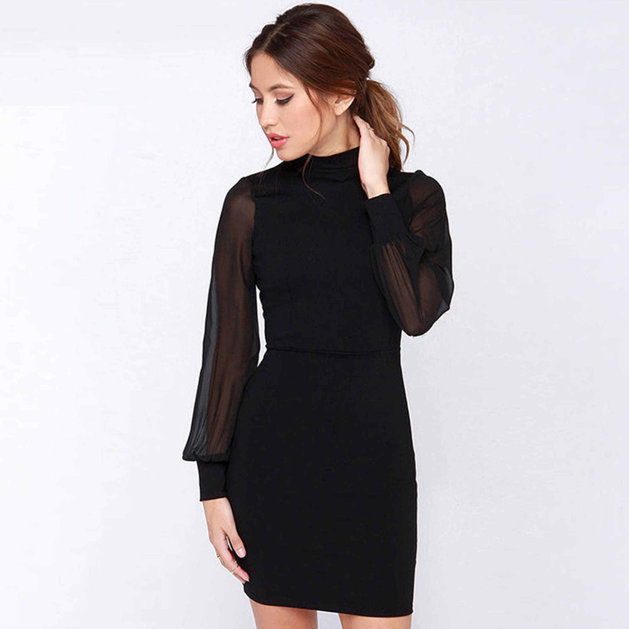 Women Long Sleeve Backless Slim Solid Bodycon Pencil Bandage Dress