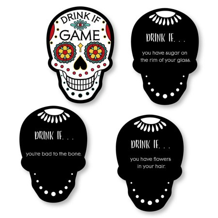 Drink If Game - Day Of The Dead - Halloween Sugar Skull Party Game - 24 Count
