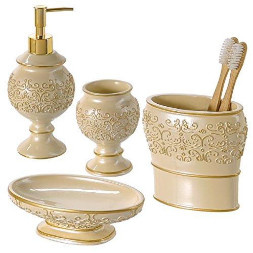 Shannon Bathroom Accessories Set, 4-Piece Bathroom Gift Set Features Soap Dispenser Pump,... by Creative Scents