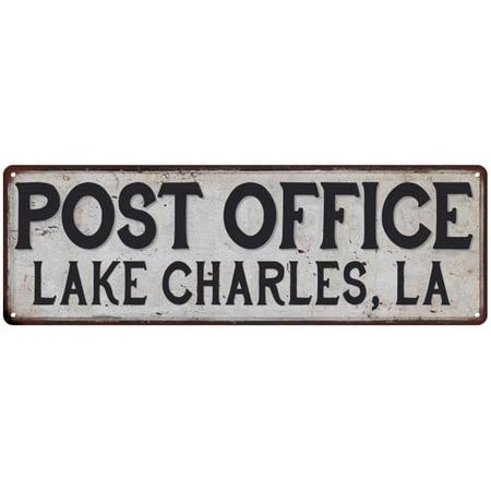 LAKE CHARLES, LA POST OFFICE Vintage Look Metal Sign Chic Retro 6182512 ()