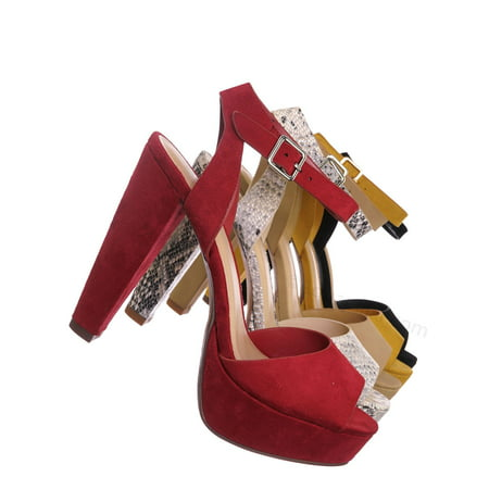 Purify by Speed Limit 98, High Block Heel Platform Sandal - Women Ankle Strap Open Toe Dress - Ankle Strap High Heeled Platform