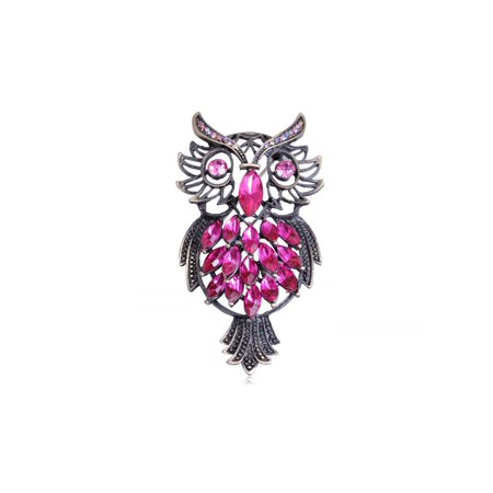 Vintage Repro Pink Crystal Rhinestone Marquise Feather Owl Fashion Pin Brooch