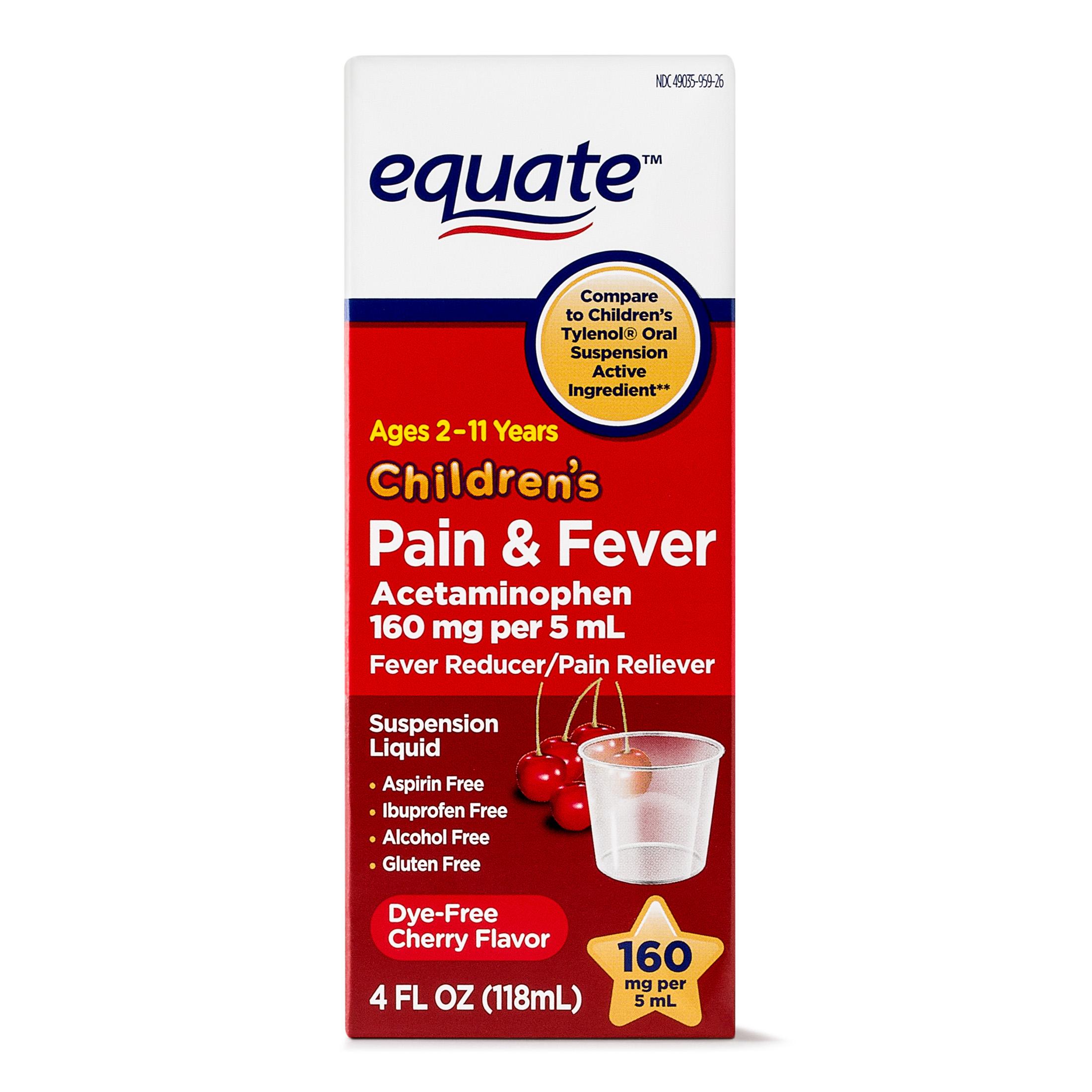 Equate Childrens Acetaminophen Dye-Free Cherry Suspension, 160 mg 4 Oz
