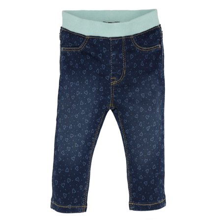 7ed83d49a Baby Girl Knit Waistband Heart Printed Skinny Denim Jeans