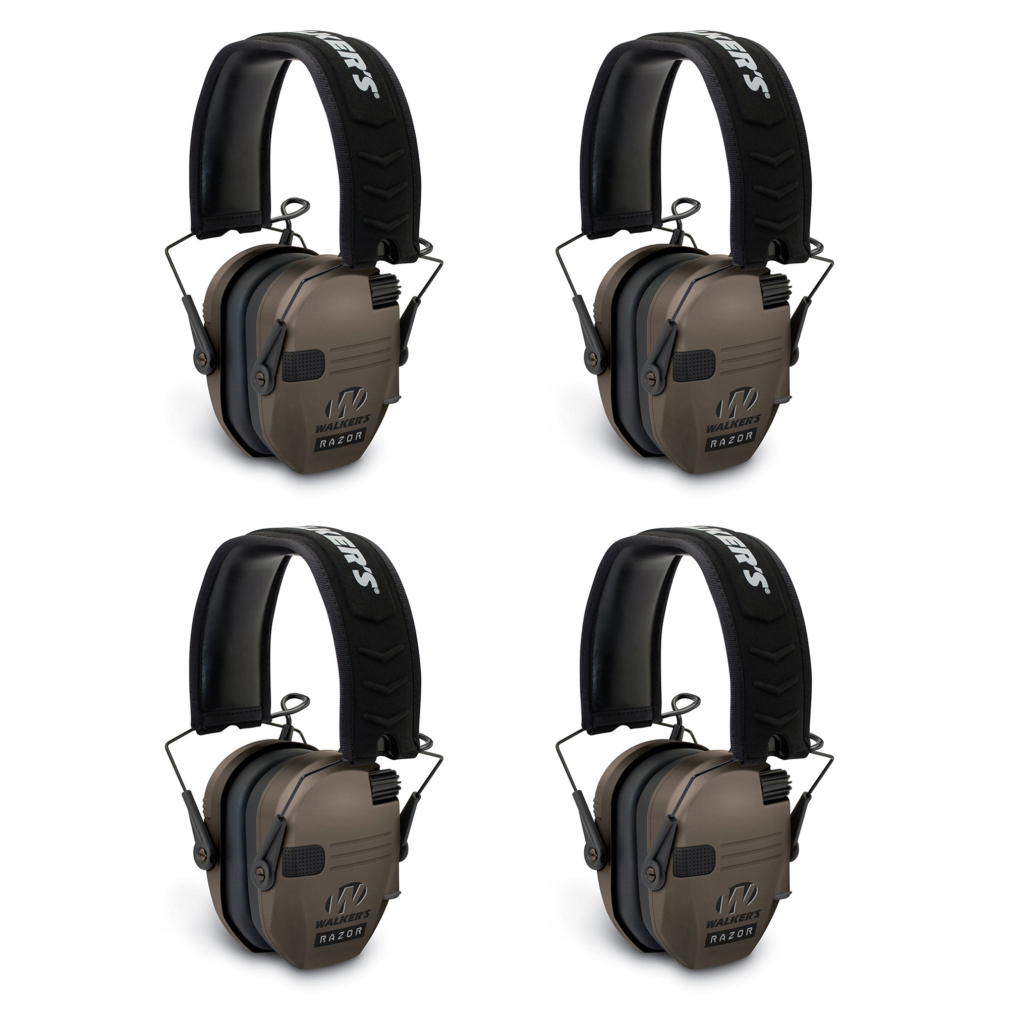 Walkers Razor Ear Protection Dark Earth Slim Shooter Folding Earmuffs, 4 Pack