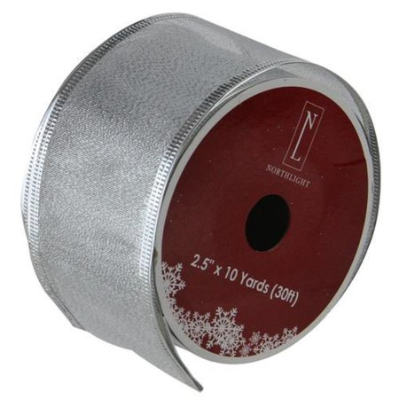 Christmas Wired Ribbon (Textured Silver Wired Christmas Craft Ribbon 2.5