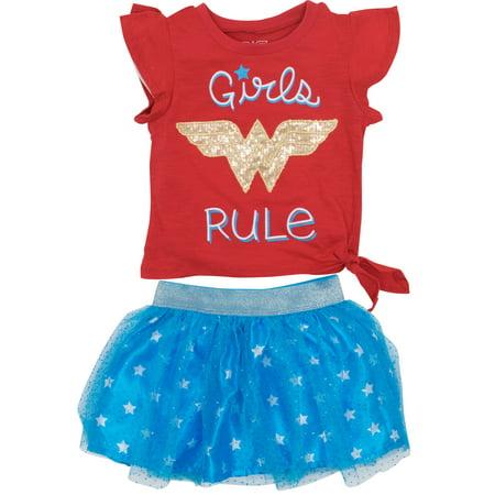 Wonder Woman Toddler Girls' Fashion T-shirt and Tulle Skirt Set, Red (4T)