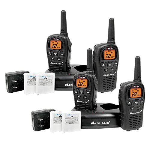 4_Pack Midland LXT500VP3 Two Way Radio, Rechargeable Batteries and Chargers by Midland
