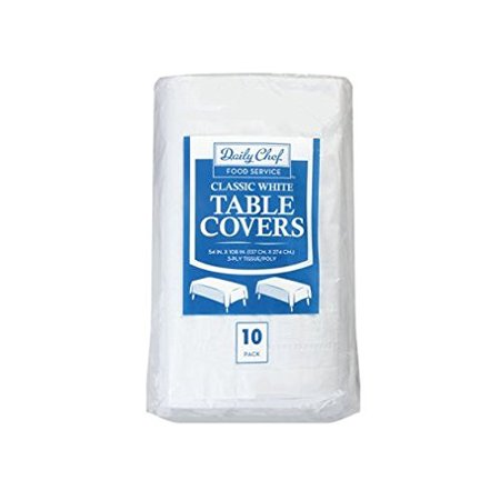Disposable Table Cover, White, 1 pack of 10 cloths, Classic white paper poly disposable table covers By Daily