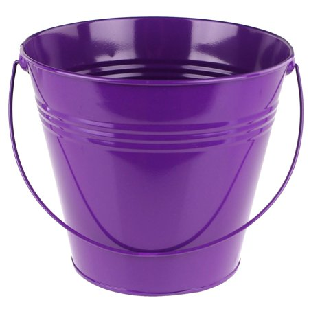 Metal Pail Bucket Party Favor, 7-Inch, Purple