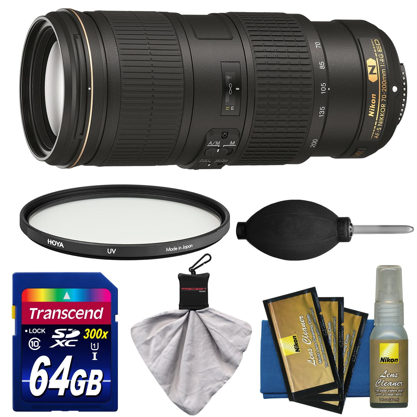 Nikon 70-200mm f/4G VR AF-S ED Nikkor-Zoom Lens with Filter + 64GB SD Card + Kit for D3200, D3300, D5300, D5500, D7100, D7200, D750, D810 Camera