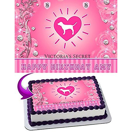 Love Pink Victoria's Secret Cake Edible Image Cake Topper Personalized Birthday 1/4 Sheet Decoration Party Birthday Sugar Frosting Transfer Fondant Image Edible Image for cake - Pink Birthday Cake