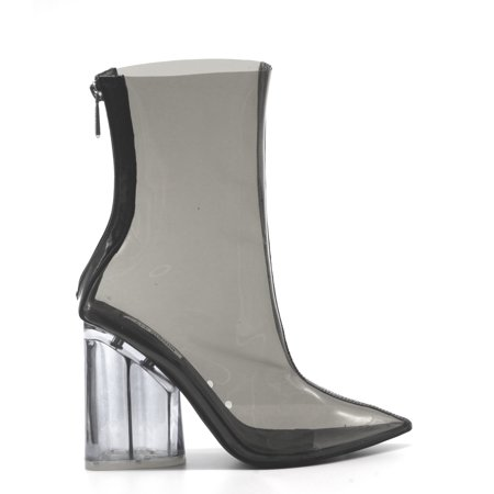 CAPE ROBBIN Crystal Glaze Womens Perspex Lucite Clear Pointy Toe Chunky Heel Ankle (Clear Ankle Boots)