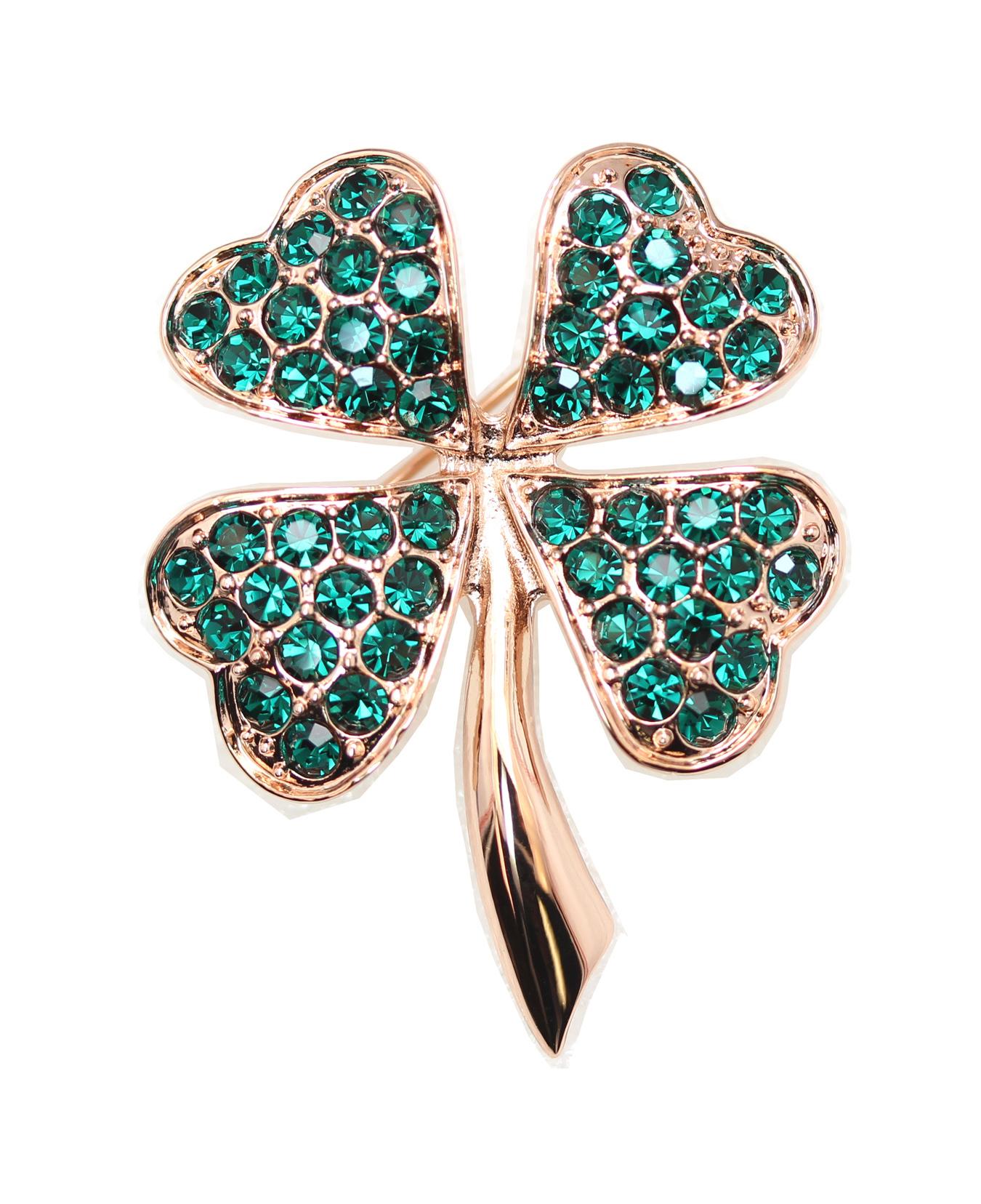Faship Gorgeous Green Shamrock Clover Leaf Pin Brooch