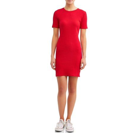 Eye Candy Juniors' Short Sleeve Scoop Neck Bodycon Rib Dress