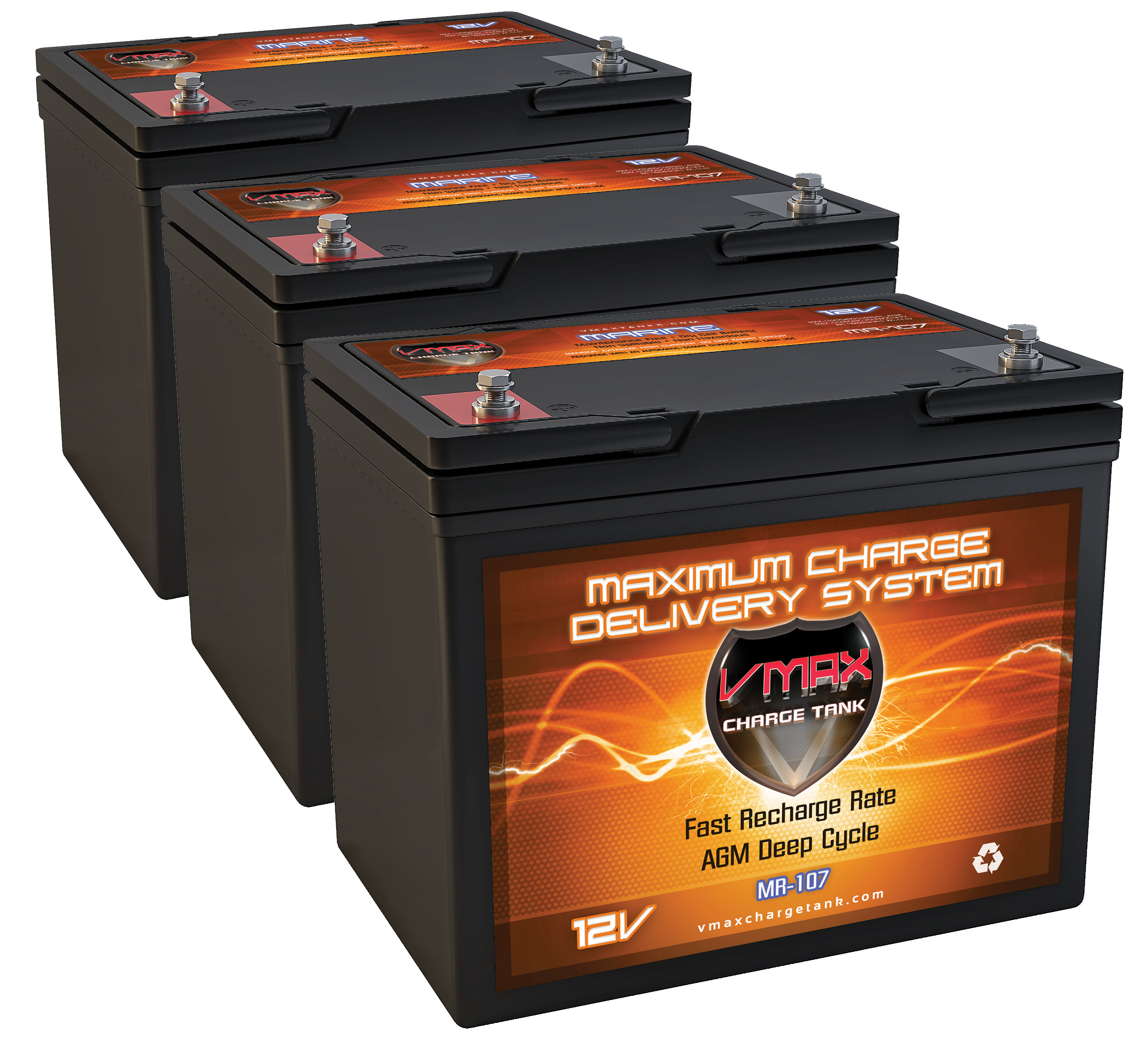 QTY3 VMAX MR107-85 12V 85AH AGM Deep Cycle Batteries for Minn Kota Ultrex 112 US2 w i-Pilot & Bluetooth 36V 112lb... by VMAX USA
