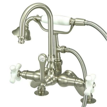 Kingston Brass CC8538PX 7 in. Center Deck Mount Tub Filler with Hand Shower, Satin Nickel ()