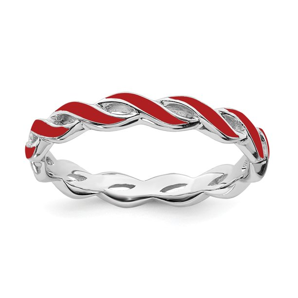 Sterling Silver Stackable Expressions Red Enamel Ring - Size 7